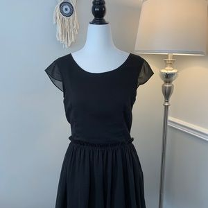 Talula Aritzia Black Cap Sleeve Fit & Flare Dress